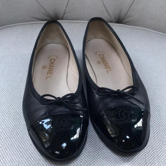 198104d373e CHANEL Shoes - CHANEL Patent Cap Toe Ballerina Flats Size 40